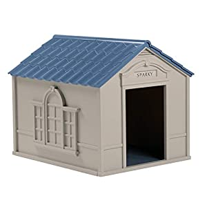 Suncast Outdoor Dog House with Door – Water Resistant and Attractive for Small to Large Sized Dogs – Easy to Assemble – Perfect for Backyards