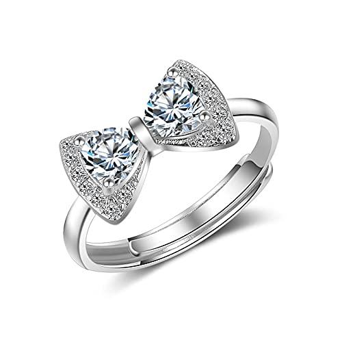 Anillo ZIYUYANG, lazo brillante circonita plata esterlina anillo ajustable tamaño de regalo para mujer plata ajustable