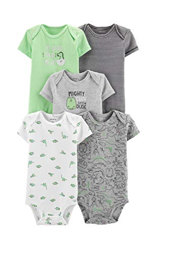 Carter's Baby Boys 5 Pack Bodysuit Set, Dinosaurs, 18 Months