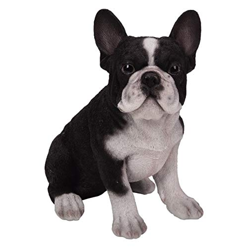 Pacific Giftware PT Realistic Look Statue Black White French Bulldog Puppy Dog Home Decorative Resin Figurine