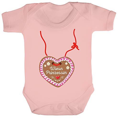 ShirtStreet Gaudi Wiesn Oktoberfest Strampler Bio Baumwoll Baby Body kurzarm Jungen Mädchen Oktoberfest - Wiesn Prinzessin, Größe: 3-6 Monate,Powder Pink