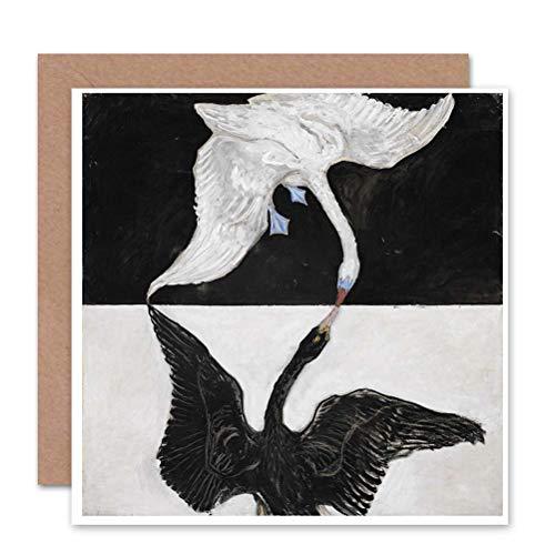 Wee Blue Coo GREETINGS Kaart schilderij DIEREN ZWAN HILMA AF KLINT 1915 DE ZWAN NO 1