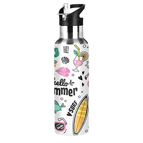 MNSRUU Botella de agua aislada para niñas y niños, Hello Summer botella de agua de acero inoxidable con pajita, 20 onzas