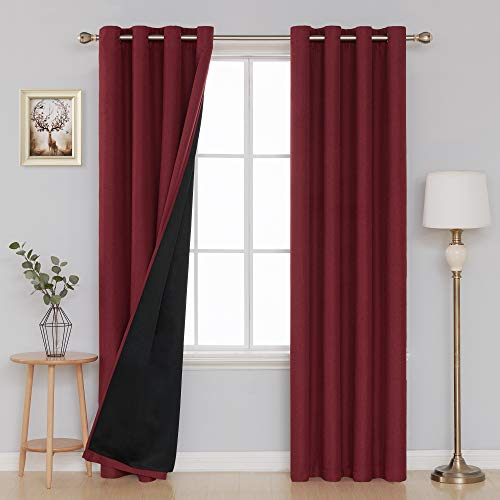 Deconovo Ultra Sleep Thermal Insulated Blackout Curtains Luxurious Faux Linen Double Layer Curtains for Bedroom 52x95 Inch,2 Panels