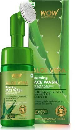 WOW Skin Science Aloe Vera Foaming Face Wash with Built-In Face Brush for deep cleansing - No Parabens, Sulphate, Silicones & Color - 100mL Face Wash (100 ml)