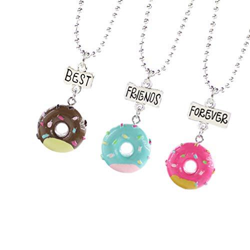 STOBOK 2 Conjuntos Mejor Amigo para Siempre Collar Donut Colgante Collar Amistad BFF Collares Helado Colgante para 3 Niñas de La Joyería de Cumpleaños