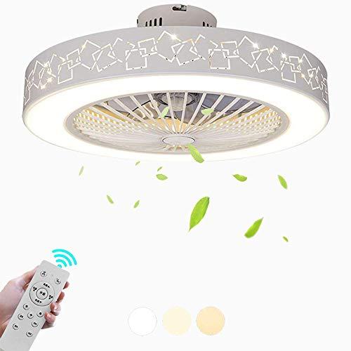 Ganeep Lámpara LED moderna de ahorro de energía regulable con lámpara silenciosa controlada remotamente con iluminación, decoración Lámpara de ventilador de techo Adecuado for sala de estar Comedor Do