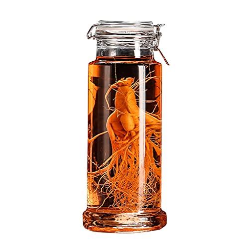 LXJ Ginseng Cubo de hielo medicinal engrosado para preparar botellas de vino Ginseng Tarro de vino sellado de alta borosilicato transparente botella de 2500 ml