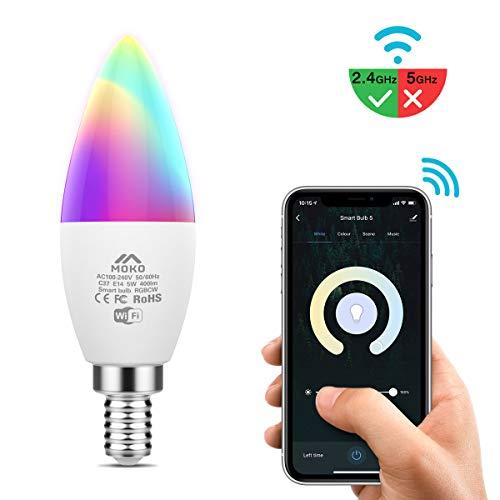 MoKo Smart WLAN LED Lampe, E14 5W Kerzenform Dimmbar Glühbirne Mehrfarbig, WiFi Birne mit APP und Sprachsteuerung, Kompatibel mit Alexa Echo Google Home, RGB + Kühles Weiß + Warmweiß, Kein Hub