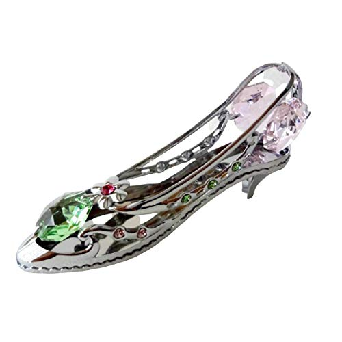 Crystocraft High Heel Shoe Ornament With Swarovski Elements Gift Boxed Green Pink Red Crystals Silver Chrome Plated Perfect Keepsake Collectors Gift Figurine