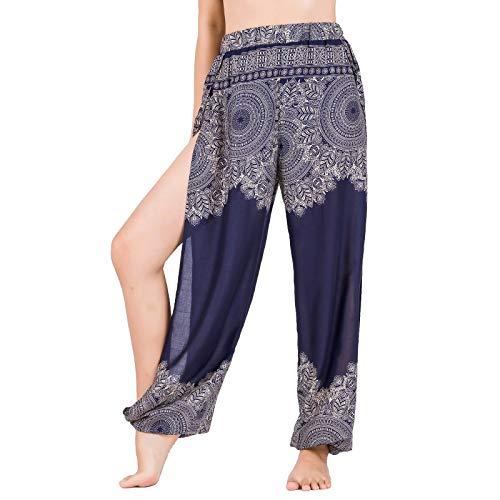 Lofbaz Pantalones De Yoga Harem De Corte Alto para Mujer Pijamas De Salón Sexy Pantalones Deportivos De Maternidad De Playa Dardos Azul Oscuro S