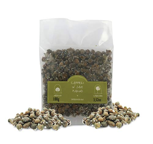 Capers of Pantelleria in Sea Salt, Small Size, 4/8 mm - Sachet, 100g / 3.52oz
