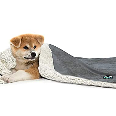 KritterWorld Pet Dog Cat Puppy Kitten Micro plush Sherpa Snuggle Blanket for Couch, Car, Trunk, Cage, Kennel, Dog House, 45  x 30  Grey/Latte