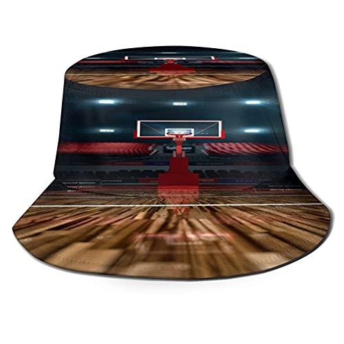 YZBEDSET Fischerhut,Basketballplatz Sportarena 3D Rendering Hintergrund,Unisex Sonnenhut Bucket Hat Anglerhut Fishermütze Outdoor Faltbar Cap