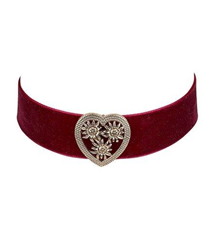SIX Oktoberfest - Kurze Damen Halskette, Choker aus rotem Samt-Stoff, goldenes Herz mit Edelweiß-Muster, Kostüm, Karneval, Dirndl (730-508)
