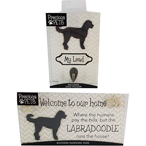 Precious Pets Hundeschild und Hundeleine mit Haken, Labradoodle, lustige Schilder, Geschenk für Mütter, Hundezubehör, Hausmaterial