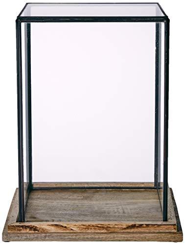 Better & Best 1363064 Urna cristal cuadrada alta base madera de madera y cristal, color: cristal