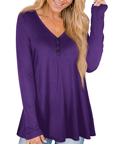 CYiNu Womens Purple Long Sleeve Henley Shirts Plus Size Fall Tunic Tops L