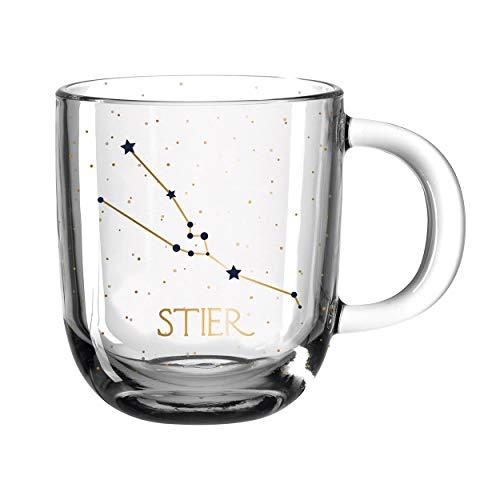 Leonardo - Kaffeetasse, Tasse - Astro Sternzeichen Stier - Glas - 12,5 x 10 x 8,7 cm - 400 ml