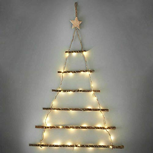 Sentik 64cm Tall Christmas Lit Twig Wall Tree 40 Warm White LED Lights Battery Operated Hanging Xmas Wall Decoration Wooden Rope Ladder Bedroom Living Room