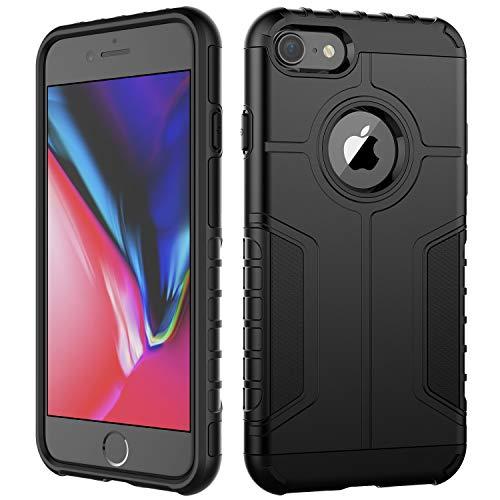 JETech Custodia iPhone 8 e iPhone 7, Doppio Strato Protettivo Cover con Assorbimento degli Urti (Nero)