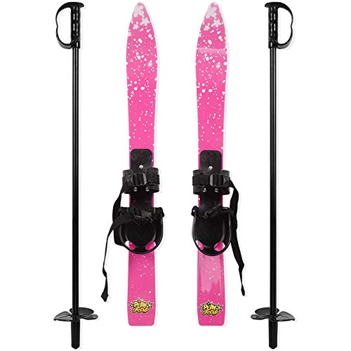 Kid's Beginner Snow Skis And Poles with Bindings, Low-Resistant Ski Boards for Age 3 To 10, Lightweight Sturdy And Safe Kids Skiing Equipment, Crosscountry Skiis for Kids Toddler Skis Plastic,Pink
