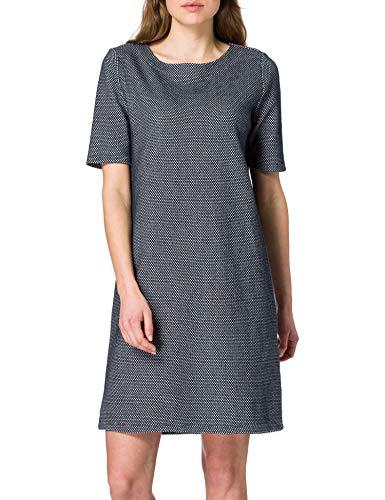 TOM TAILOR Damen 1024072 Basic Kleid, Navy White Mini Structure, 38