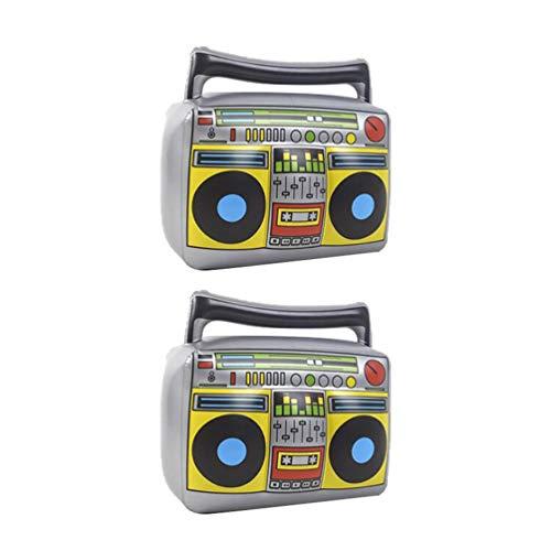 LIOOBO Boom Box Gonfiabile Radio Gonfiabile Giocattoli Decorativi da Spiaggia Giocattoli da palcoscenico Oggetti di Scena Prestazioni per Banchetti di Carnevale 2 Pezzi