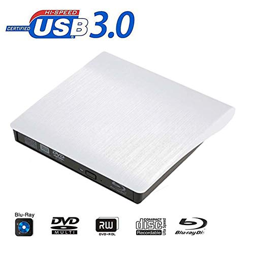 FWec Blu-ray brander, USB 3.0 Bluray Drive CD DVD RW Brander Schrijver Externe optische schijf BD-R Speler Voor Laptop & Desktop & Notebook ZILVER
