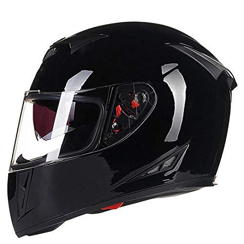 Motorhelm full-cover helm locomotief volledige helm anti-mist persoonlijkheid helm veiligheid licht gewicht L Zwart