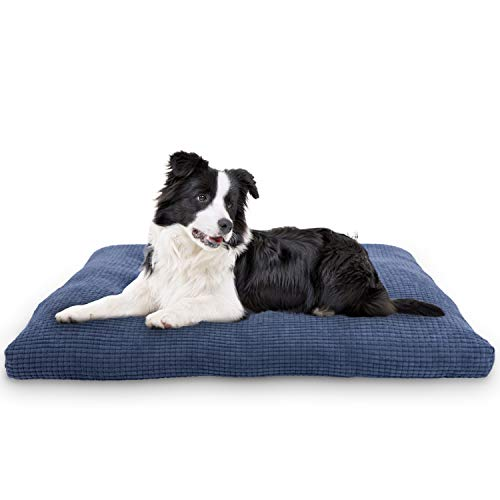 JOEJOY Dog Bed Crate Pad with Removable Washable Cover, 24/30/36/42 inches Sleeping Mattress Corduroy Ultra Soft Cotton Anti-Slip Dog Mat Durable Pet Cushion for Small Medium Large Dogs