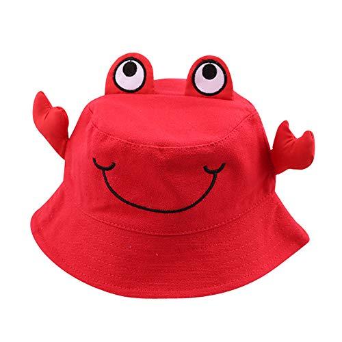 KUDICO Kleinkind Kinder Fischerhut Atmungsaktiver Verstellbar Sommermütze mit Kinnriemen Sonnenhut UV Schutz 50 Baby Eimerhut (rot, 54cm)