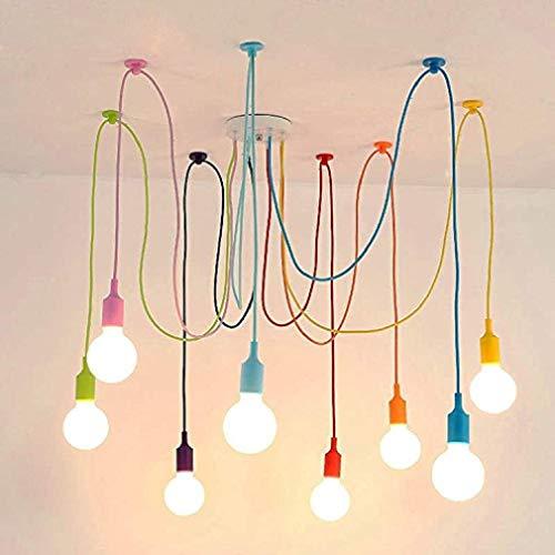 Vintage Nordic Spider Pendelleuchte mehrere verstellbare Retro Pendelleuchten Loft Klassische dekorative Leuchte LED LED Hängelampe Home (8 Kopf Bunte Nylonschnur)