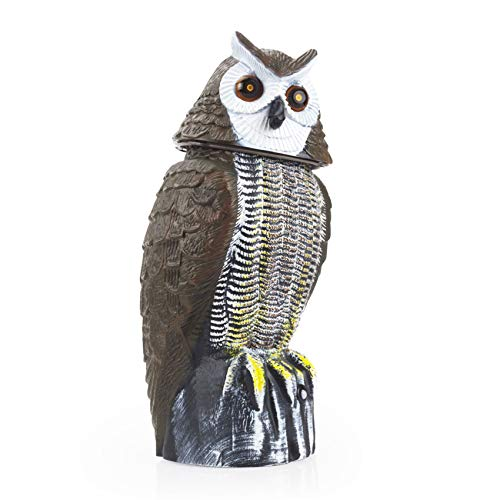 Redeo Solar Powered Owl Decoy Scarecrow Bird Repellent Rabbit Repeller with Flashing Eyes & Scary Sound & Rotating Head 10-16 ft Motion Activated