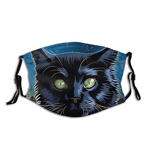 Black Cat Face M-A-S-K con 2 filtros, reutilizable, lavable, unisex para exteriores