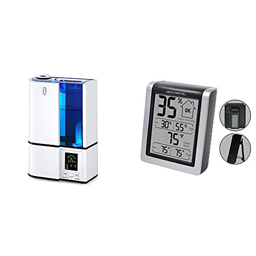TaoTronics Cool Mist Humidifier, 4L Ultrasonic Humidifiers for Large Bedroom & AcuRite 00613 Digital Hygrometer & Indoor Thermometer Pre-Calibrated Humidity Gauge, 3' H x 2.5' W x 1.3' D