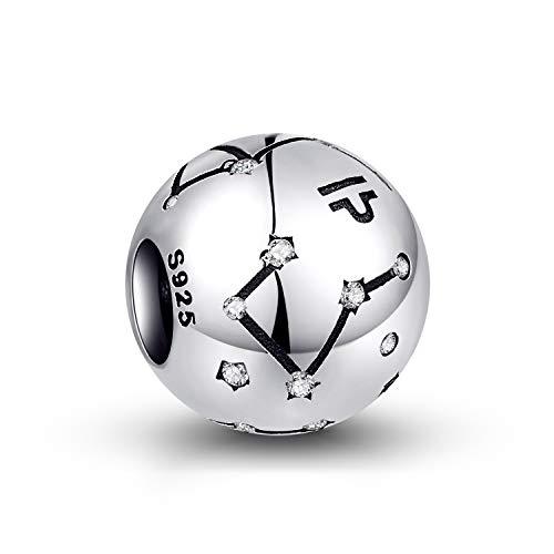 NINGAN die Waage 12 Sternzeichen Geburtstag Anhänger – 925 Sterlingsilber Anhänger für Pandora Armband & Halskette – Ideale Geburtsgeschenke für Frauen & Freundinnen