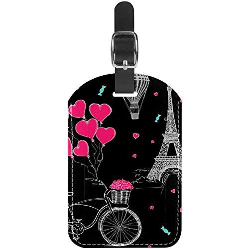 TIZORAX Gepäckanhänger Paris Eiffelturm Romantik Fahrrad Leder Reise Koffer Etiketten 1 Packung
