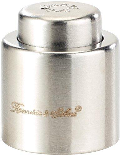 Rosenstein & Söhne Sektverschluss: Verschluss für Sekt-und Champagnerflaschen aus gebürstetem Stahl (Sektflaschenverschluss)