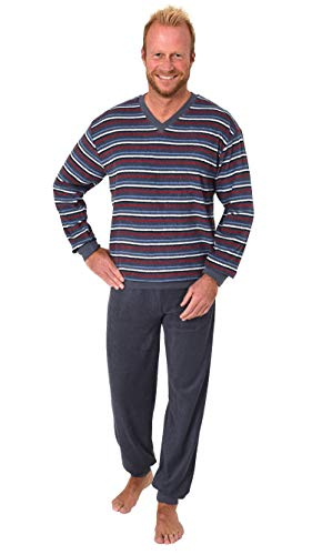 Bequemer Herren Frottee Pyjama Schlafanzug mit Bündchen in Streifenoptik - 281 101 13 649, Farbe:Marine, Größe2:56