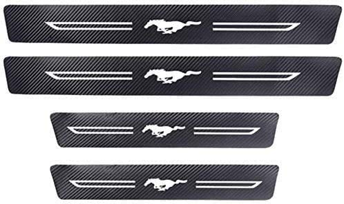 for Ford Mustang, Door Sill Protector, Kick Plates Pedal Threshold Cover Carbon Fiber Sticker Anti-Scratch Anti-Slip Car Styling