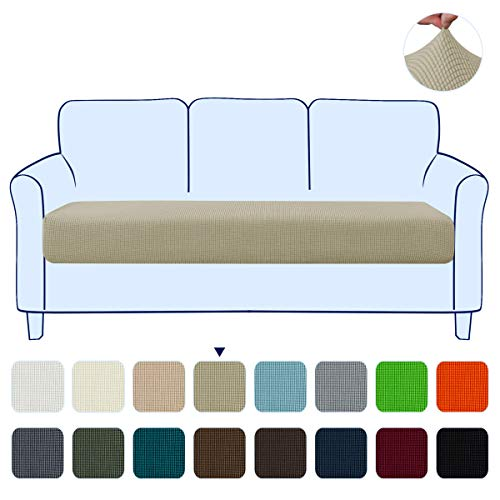 subrtex Couch Slipcover RV Seater Slip Loveseat Stretch Durable Sofa Cushion Cover Spandex Elastic Furniture Protector for Settee Seat for Replacement in Livingroom (Large,Sand)