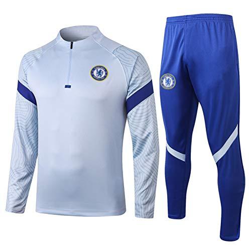 2021年チェルシーサッカートレーニングスーツ、ポケット付きメンズフットボールジャージートラックスーツ、フットボールジャケットジョギングトレーニングウェア快適な通気性 Blue A-S