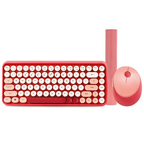 KOKOF Gaming toetsenbord, toetsenbord gewone toetsenbord Mouse toetsenbord Computer gaming toetsenbord Ultra-dun toetsenbord en muis ontwerp Lichtgewicht ultra-dun toetsenbord, size, roze