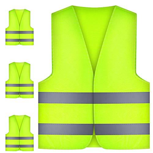 Nasharia 4 Stück Warnwesten Auto Pannenweste Warnweste, Sicherheitswarnweste EN 471 mit 360 Grad Reflektierende Streifen und Klettverschluss, Standardgröße