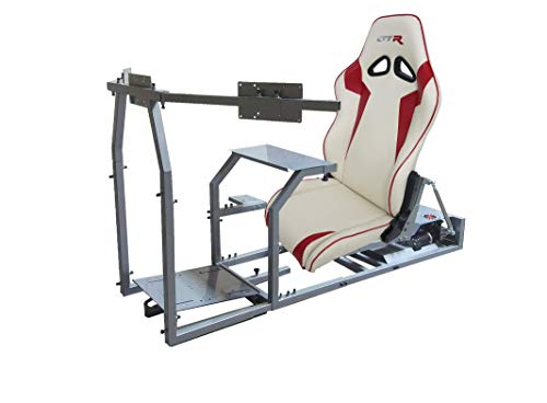 GTR Simulator - GTM Motion Cockpit w/Real Racing Seat for Racing Simulator Flight Simulator & Driving Simulator Games. Includes Triple Monitor Mount (Silver Frame + White w/Red Striped Gaming Chair)