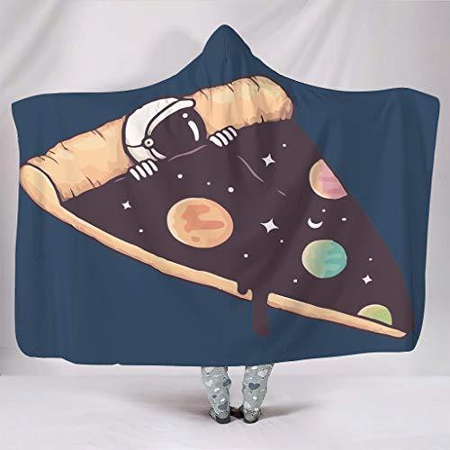 Xuanwuyi-Blanket PIZZZA NASA Fleecedecke mit Hut, warmes Geschenk für den Alltag zu Hause, weiß, 50x60 inch