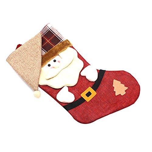 Nouvel an Bas de Noël Chaussettes Plaid Père Noël Bonbons Cadeau Sac décoration-Santa Claus