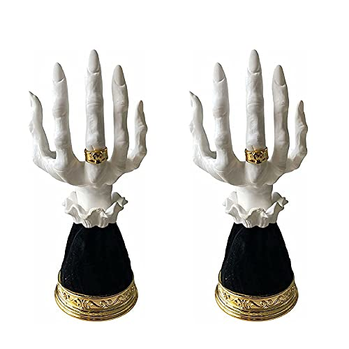 Halloween Bruja Mano candelabro Horror Bruja Mano Vela Candela gótico Esqueleto Candelabra Ornamento Decorativo Bruja Mano Pedestal Estatua de Pedestal para la decoración del Partido casero