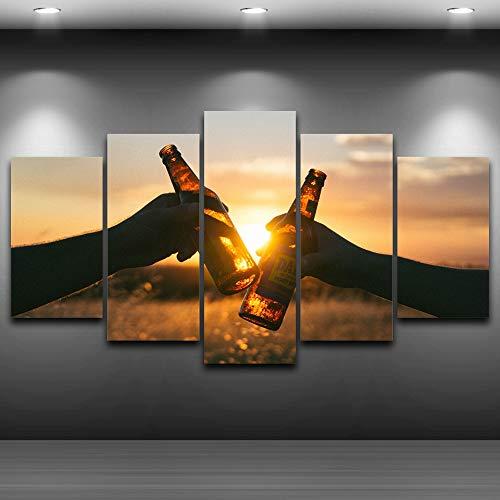 Cuadro En Lienzo Decoracion Paisaje al atardecer cerveza 100x55cm 5 Piezas Cuadros Impresiones sobre Lienzo, Lienzos Decorativos Adecuado Cuadros Dormitorios Cuadros Decoracion Salon Modernos (Sin Ma
